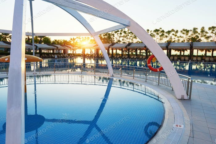 Type entertainment complex. The popular resort with pools and water parks in Turkey. Luxury Hotel