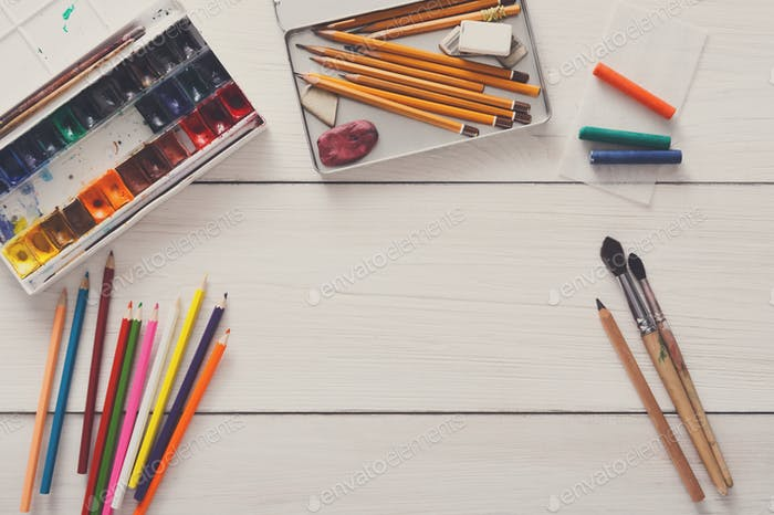 Drawing tools, stationary, workplace of artist