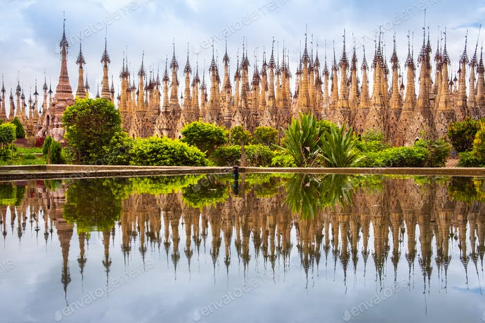 Scenic view of pagodas in Kakku with water reflection, Myanmar