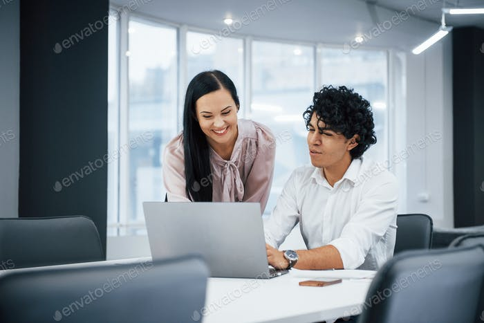 Young designers. Cheerful coworkers in a modern office smiling when doing their job using laptop