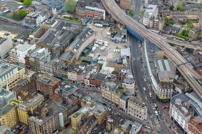 Aerial view of Southwark Street in London