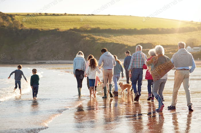 Rückansicht von Active Multi-Generation Familie Mit Hund Wandern entlang Küste Auf Winter Strand Urlaub