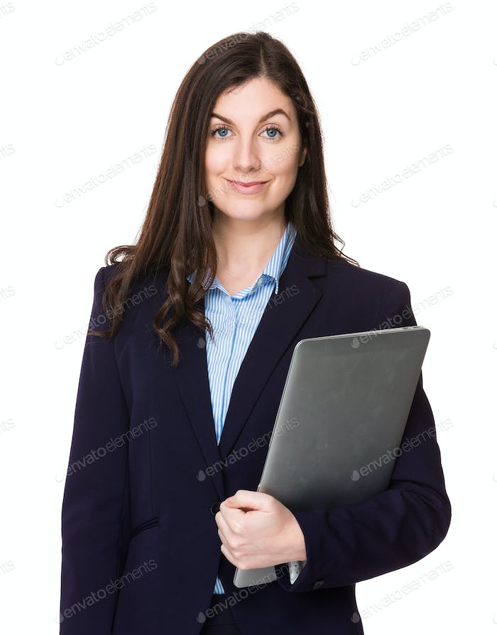 Young businesswoman hold with laptop computer