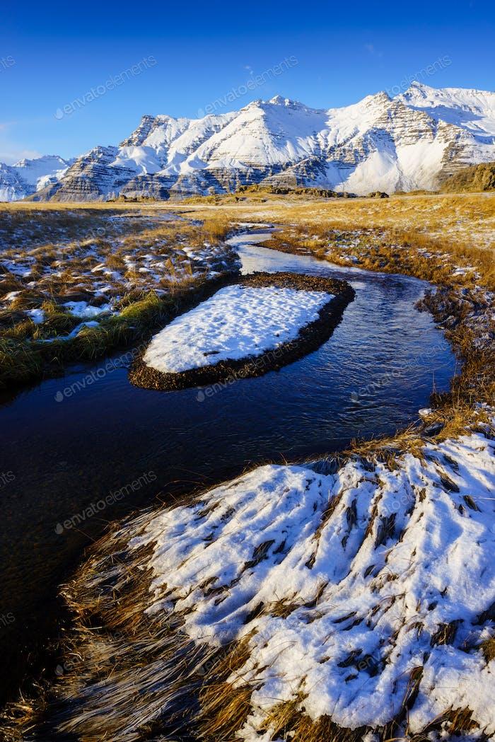 Winter landscape in Iceland