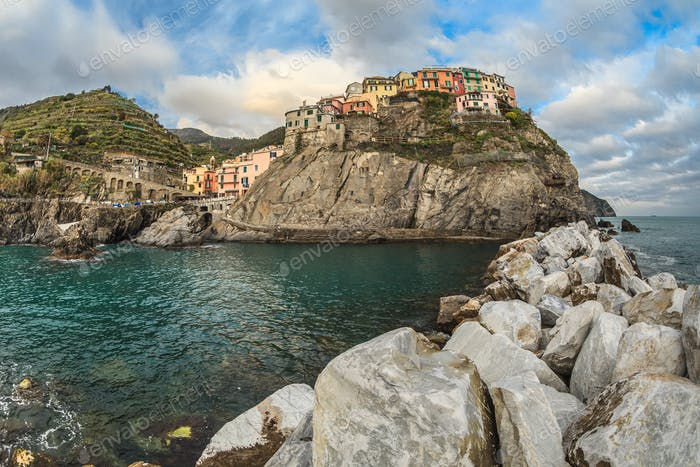 Village of Manarola, on the Cinque Terre coast of Italy