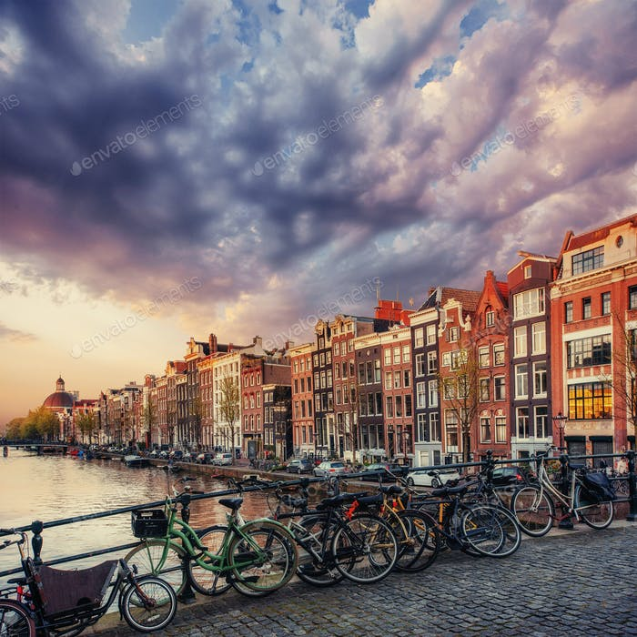 Beautiful tranquil scene of the city Amsterdam.