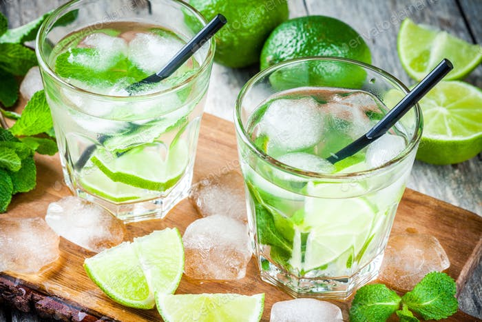 two cold mojitos cocktail