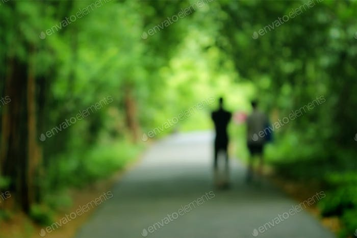 Travellers on trapical forest, Blurred park