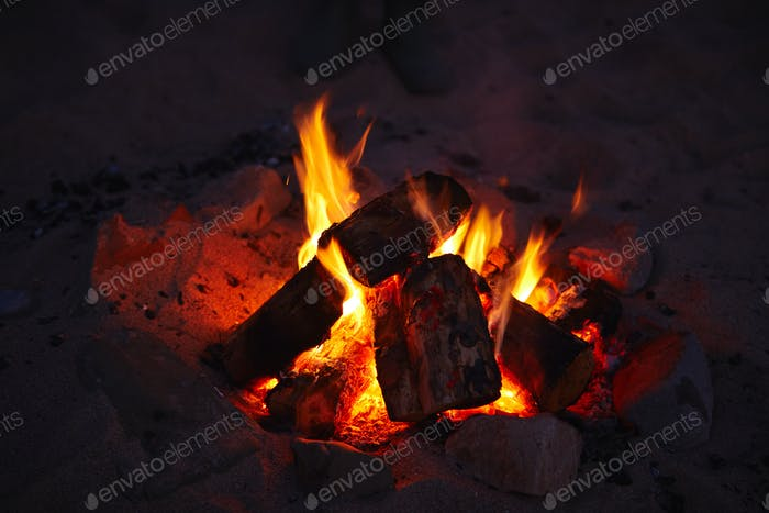 Close Up Of Camp Fire Flames Burning On Beach