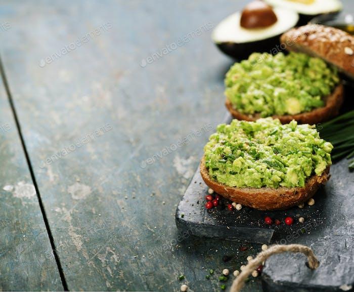Tasty avocado sandwiches