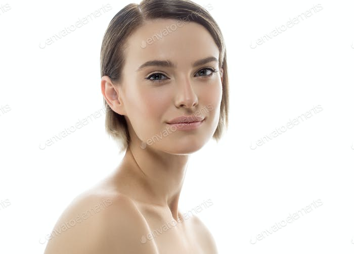 Beauty Woman face with hands. Portrait. Beautiful Spa model Girl with Perfect Fresh Clean