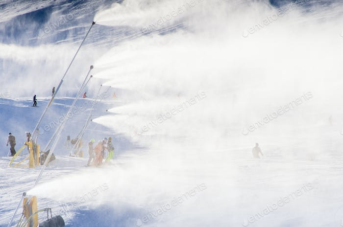snowmakers blowing fresh snow