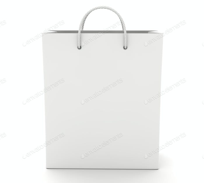 Empty Shopping Bag on the white. Front view