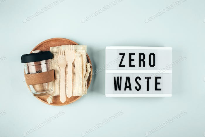 Sustainable, plastic free, zero waste concept. Eco friendly cutlery, eco bag, reusable coffee mug
