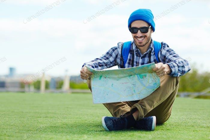 Traveler on lawn