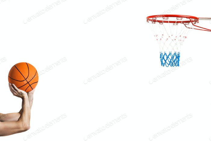 isolated on white shooting at the basket