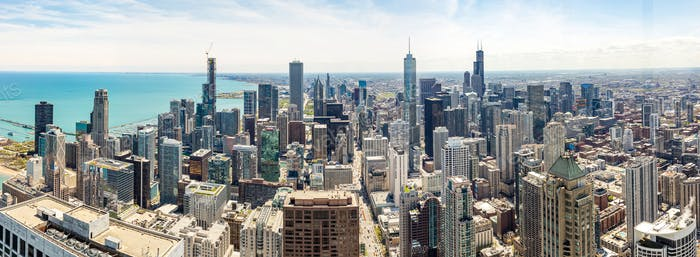 Chicago city skyscrapers panorama, blue sky background. Skydeck observation