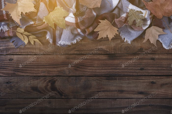 Autumn leaves on a plaid