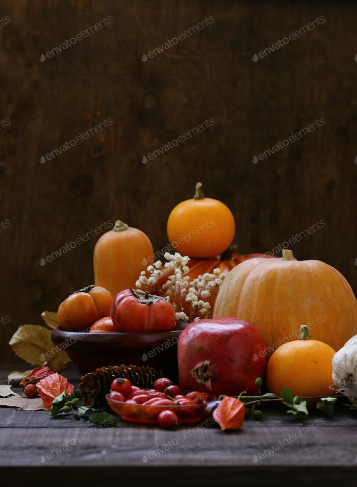 Still Life with Pumpkins and Berries