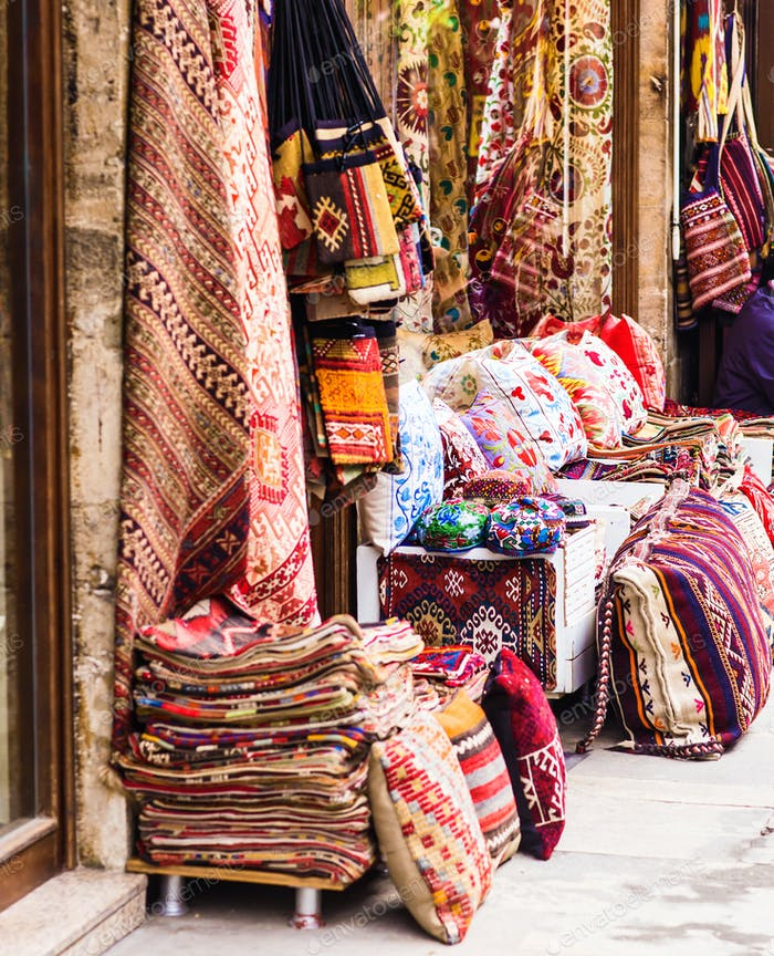 Textiles in the bazaar on Istanbul