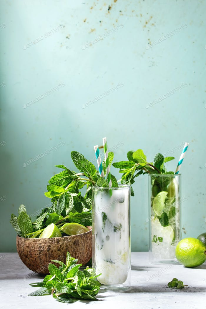Two mojito cocktails