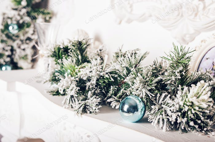Christmas decoration with fir branches and xmas balls