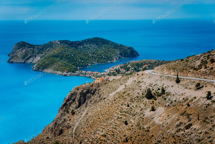 Mountain road leading to famous Assos village and venetian fortress, great landscape of Kefalonia