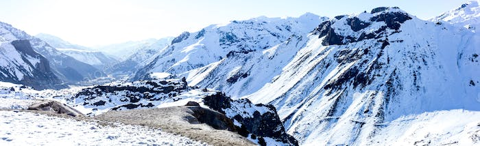 Mauntain glacier. Panoramic view of Chilean Argentine Andes. Panorama.