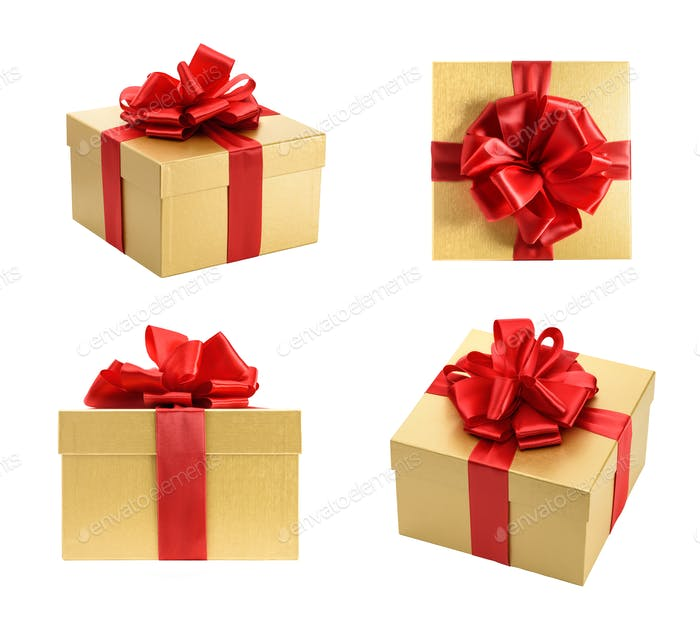 Golden gift box collection isolated on a white background