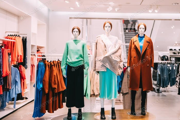 Mannequins Dressed In Female Woman Casual Clothes In Store Of Sh