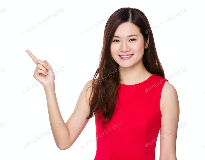 Asian woman with finger show up