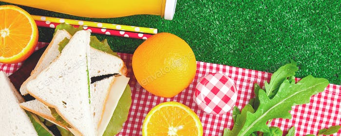 Banner with Picnic on the grass. Summer Time Rest. Flat lay.