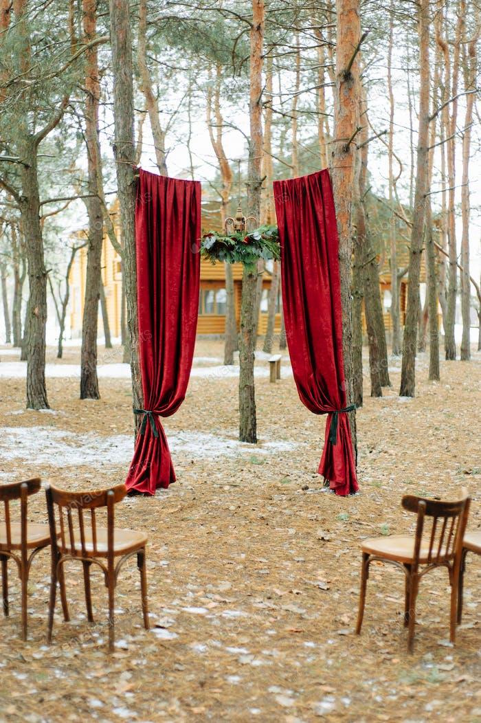 Wedding arch for a winter wedding