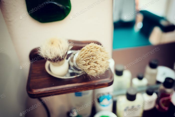 Brush shaving set in barber shop