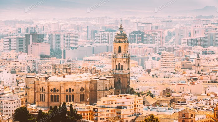 Malaga, Spain. Cityscape Elevated View. Cathedral Of Malaga Is A Renaissance Church