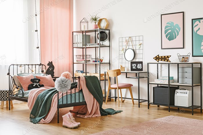 Pink and green feminine bedroom