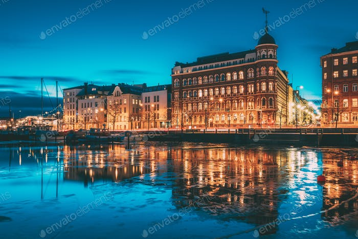 Helsinki, Finland. View Of Pohjoisranta Street In Evening Or Nig