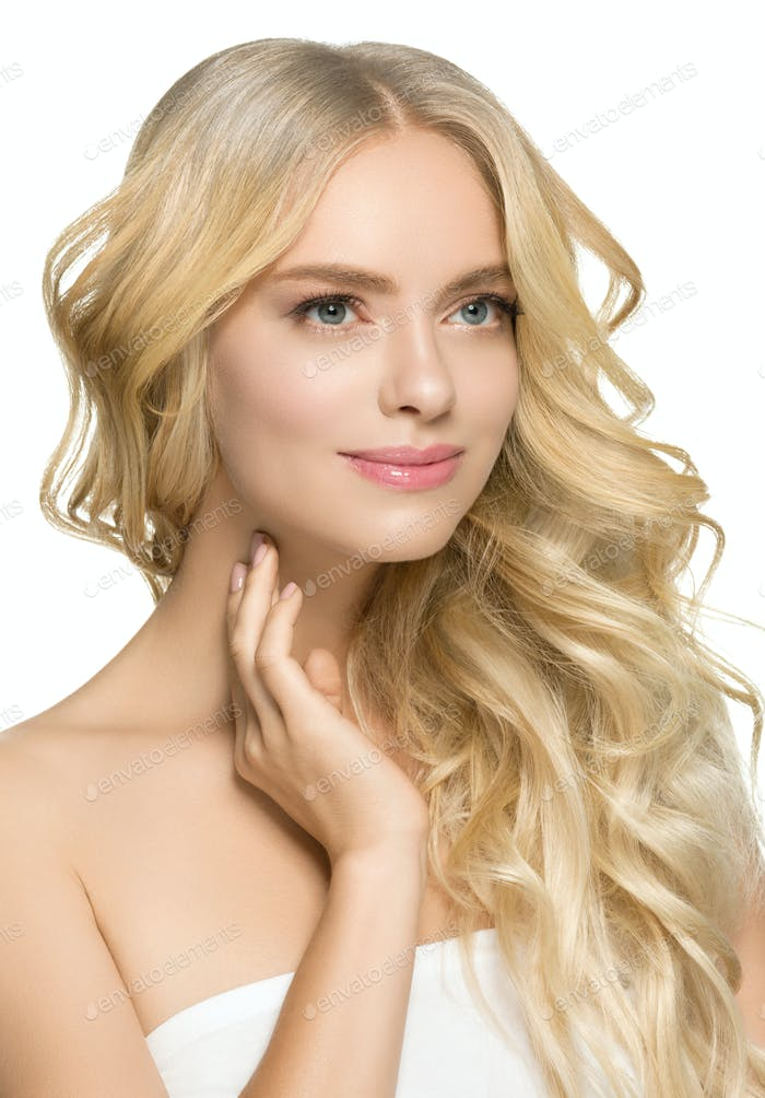 Fresh Skin Beauty Long Curly Hairstyle Woman