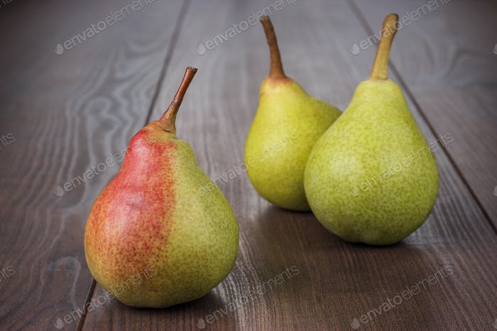 Fresh Pears On The Wooden Table