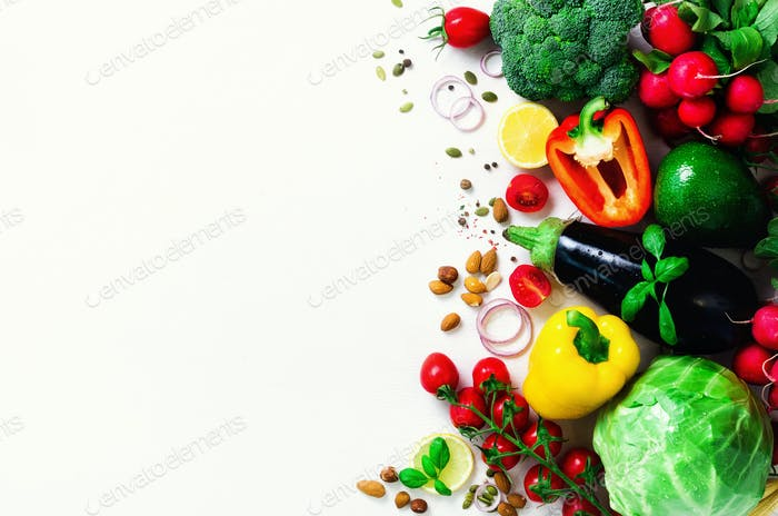 Set of fresh vegetables on a white background. Aromatic herbs, onion, avocado, broccoli, pepper bell