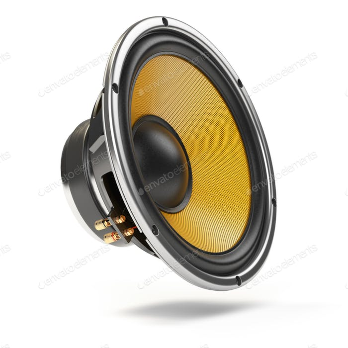Loudspeaker.  Multimedia acoustic sound speaker isolated on whit
