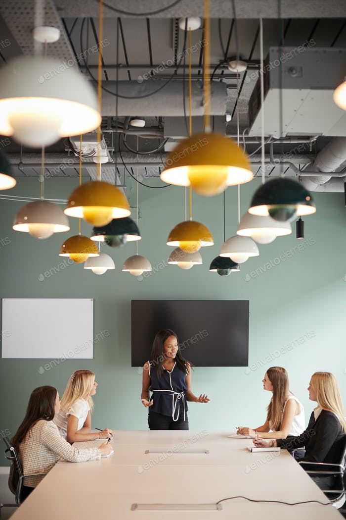 Group Of Businesswomen Sitting Around Boardroom Table