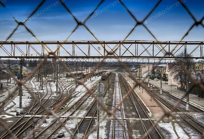 train and tracks through