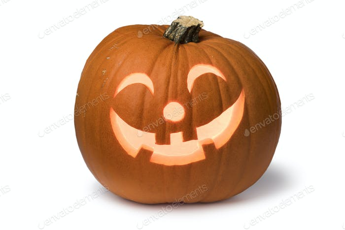 Orange kind smiling illuminated Halloween pumpkin