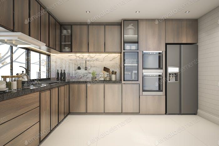 3D Rendering schöne moderne Küche mit Marmordekor
