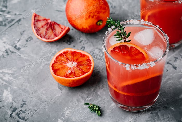 Blood Orange Sangria with ice and thyme