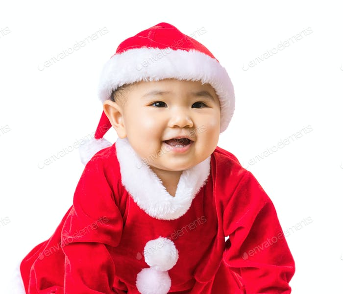 Baby girl with christmas dressing