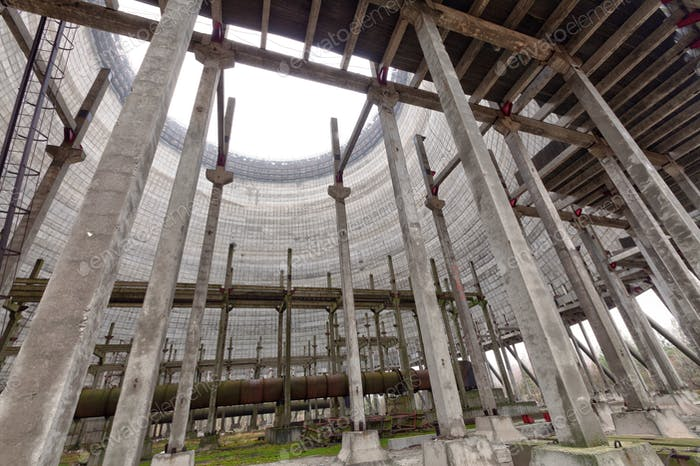 Futuristic view inside of cooling tower of unfinished Chernobyl nuclear power plant