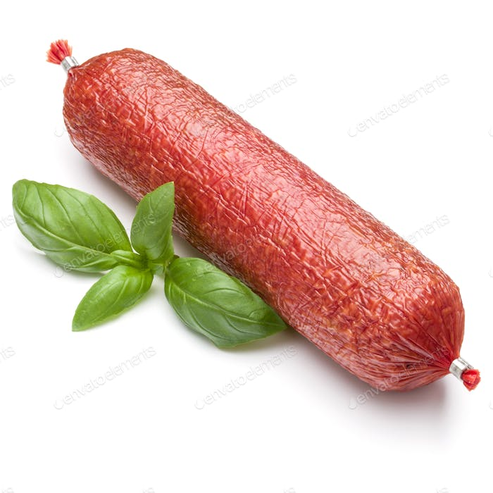 Salami smoked sausage and basil leaves isolated on white background cutout