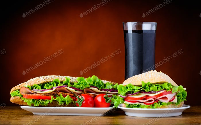 Sandwich and Burger with Cold Cola